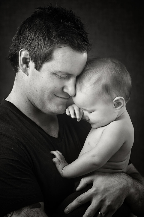 Baby Dad Father Black and White Family Photography Melbourne Studio Photography