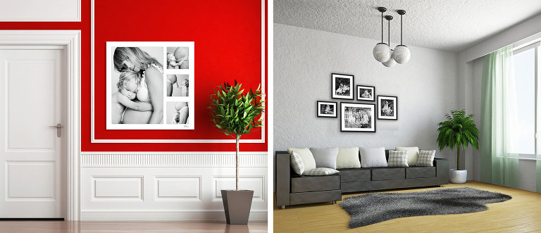 Beautiful family photographs hanging on the walls at home